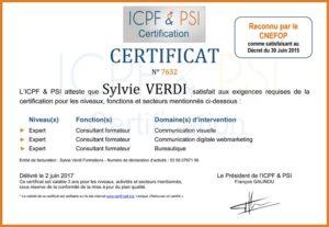 Certificat ICPF & PSI CNEFOP Sylvie VERDI 2017